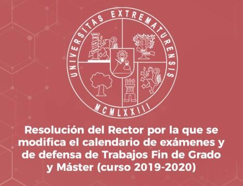 Resolución del Rector de la UEx, de 16 de abril de 2020